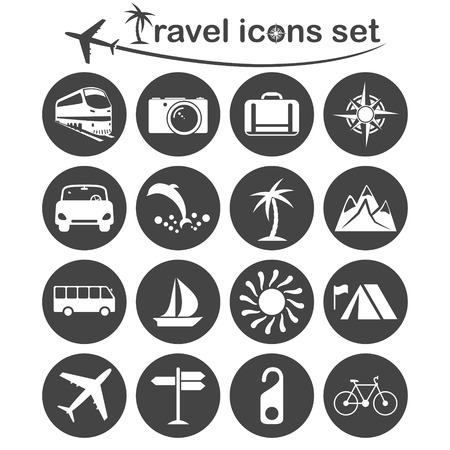 alpinism: Travel and transportation icons set, 16 signs on dark round plates, 2d vector, eps 8