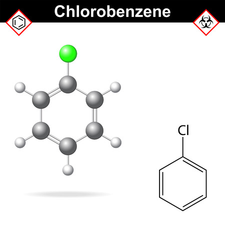 8 ball: Chlorobenzene - chemical formula and model, 2d and  3d vector isolated on white background, ball and stick style, eps 8