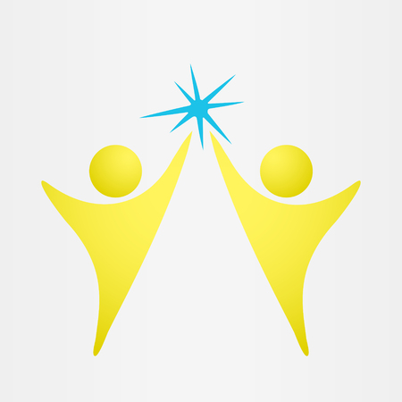 reaches: Two people reach the goal, conceptual relationships icon, 2d vector on gray background, eps 8 Illustration