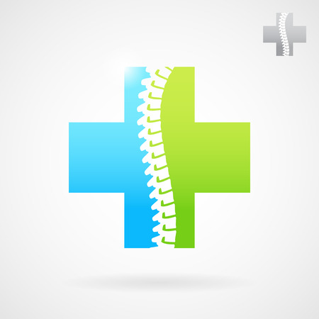 scoliosis: Spinal clinic center logo sign, medical cross icon illustration on gray background, 2d vector, eps 10 Illustration