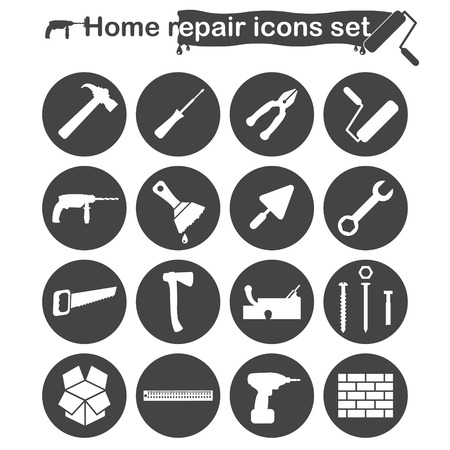 habiliment: Home repair and renovation icons set, building and construction concept, 16 signs on dark round buttons, vector, eps 8