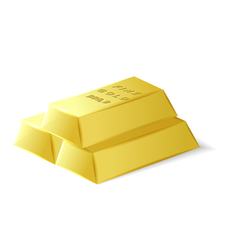 troy: Fine quality gold bars, 3d vector object, investment tool, eps 10