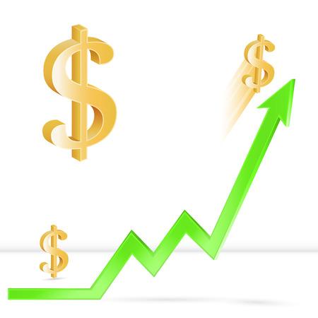 Dollar prijs omhoog, de groei van de dollarkoers, de Federal Reserve renteverhoging, 3D-vector, financiële concept beurs, eps 10