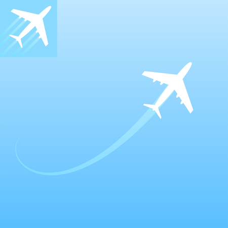 air liner: Air transport illustration with icon on blue background, 2d vector design elements, eps 10