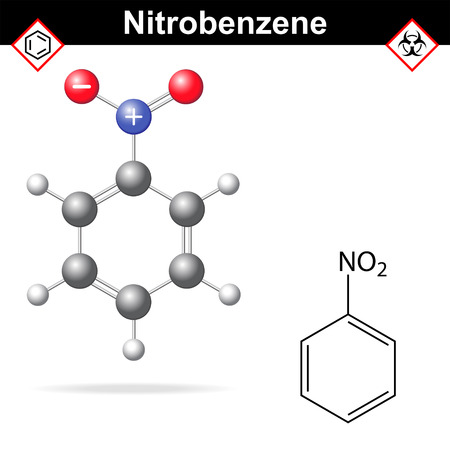 Nitrobenzene - chemical structural formula and model, 2d and  3d vector isolated on white background, ball and stick style, eps 8