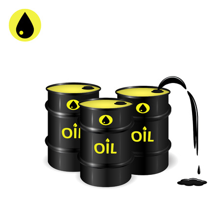 barel: Three oil barrels with oil spill and slick, oil drop vector icon, 2d and 3d vector objects, eps 10
