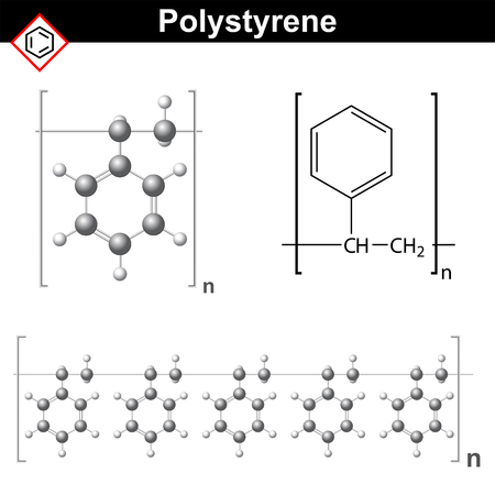 Polystyrene polymer chemical structure and model of molecule, 2d & 3d vector, isolated on white background, eps 8