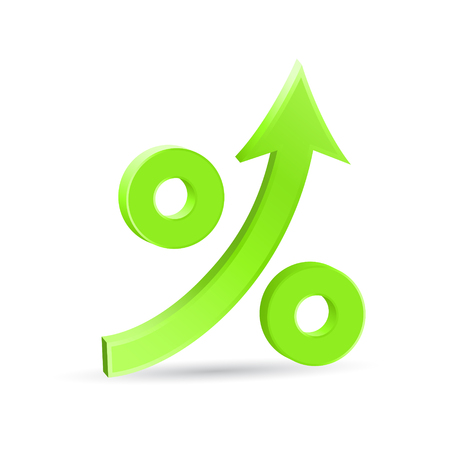 Percent up arrow icon, speedy economic growth concept, 3d vector on white background, eps 10