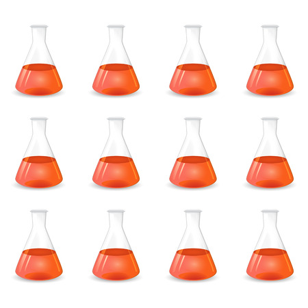 Red conical flasks, 3d lab equipment, scientific vector background