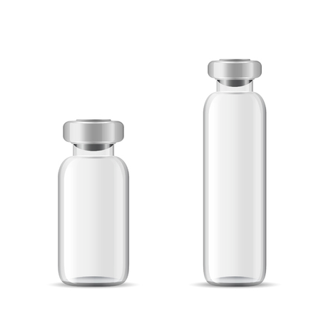 Blank glass medical bottle, 3d realistic vector lab equipment