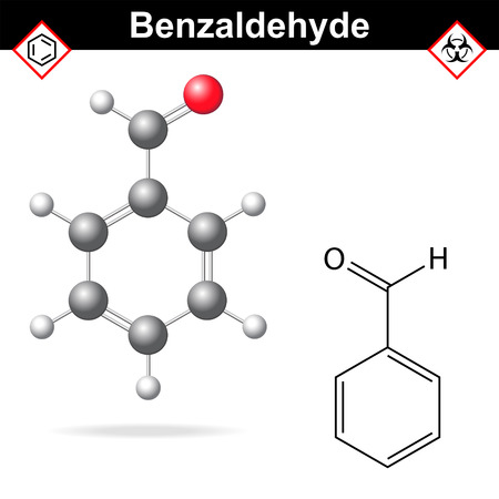Benzaldehyde - food and cosmetic flavoring additive, chemical formula and model, 2d & 3d vector on white background Illustration