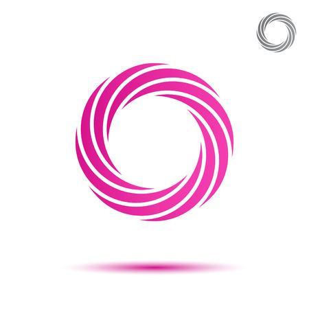 Pink segmented circular spiral, o letter, logo vector sign