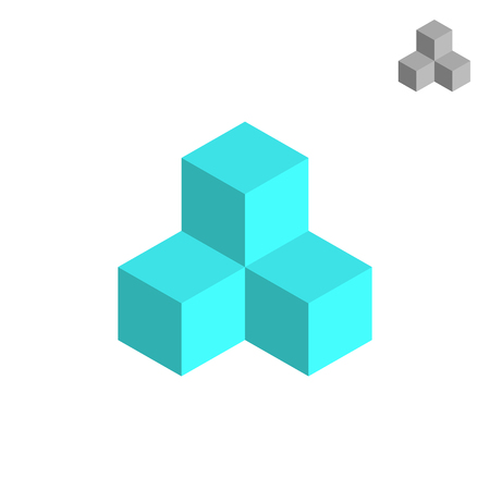 project property: Cube isometric logo, 3d vector icon, project concept, isolated on white background