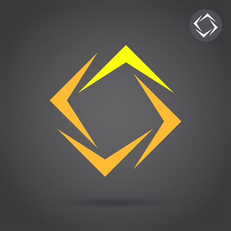 puzzle corners: V segmented square figure, 2d abstract vector icon on dark background Illustration