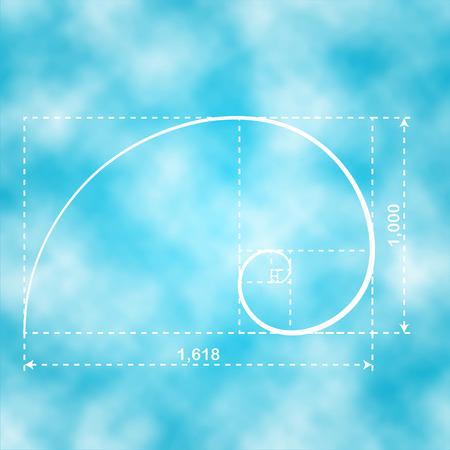 fibonacci number: Golden section, 2d vector illustration, golden ratio figure Illustration