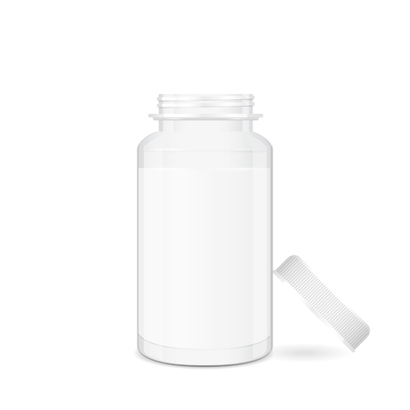 cylindrical: Opened medical pill box, cylindrical shape 3d vector object with place for text