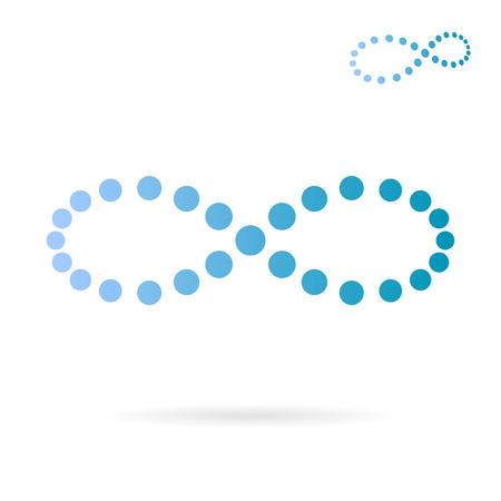 signo infinito: Muestra azul infinito de puntos, el concepto de tiempo, vector signo 2d