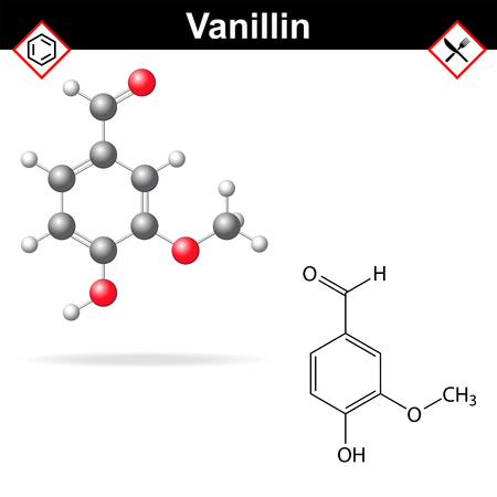 aldehyde: Vanillin - chemical formula and molecular structure, food additive, flavor enhancer, 2d and 3d vector