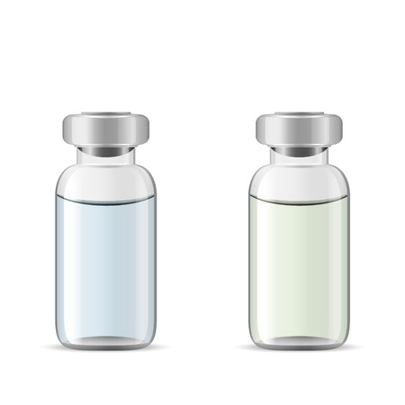 antidote: Glass medical vials with drug solution, 3d realistic vector of medical lab tools, eye drops container Illustration