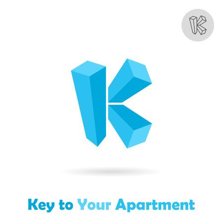 scraper: K letter logo template isometric style