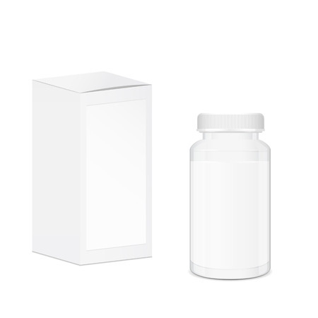 cylindrical: Blank cylindrical pills and tablets container with place for text, white medical box Illustration
