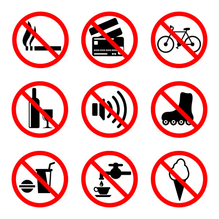prohibiting: Prohibiting signs set, 9 icons