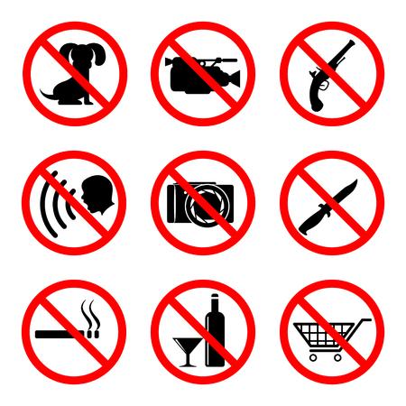 prohibiting: Do not icons set, 9 main prohibiting signs Illustration