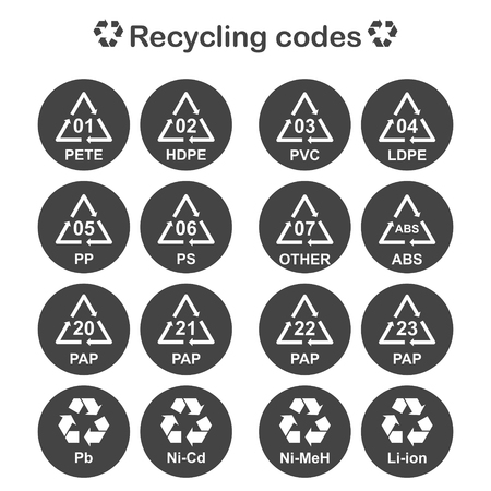 Recycling-Code, Verpackungsmaterial Icons Set Standard-Bild - 49455510