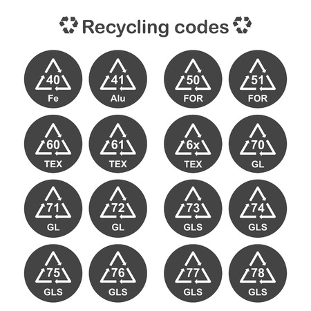 alu: Recycling codes, packing material icons set