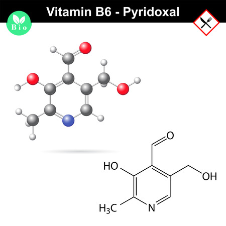 chain food: Pyridoxal chemical molecular formula and model, vitamin b6 group Illustration