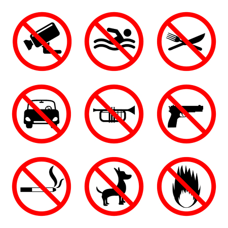 no swimming: Prohibition signs, 9 icons set on white background