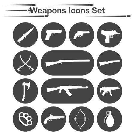 gat: Weapon icon set, 14 icons on dark round plates Illustration