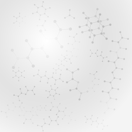 Scientific gray background with organic molecules