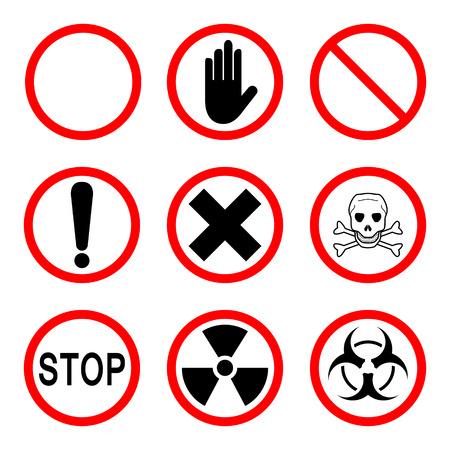 violation: Limiting and warning signs, 9 icons set