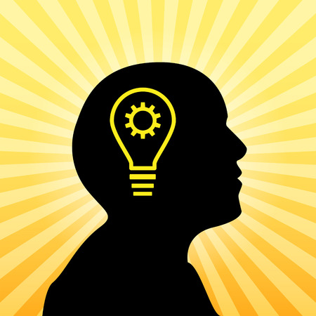 irradiation: Human silhouette with idea icon, concept of insight Illustration