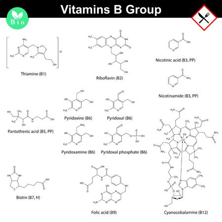 Vitamines van de B-groep, moleculaire structuren Stockfoto - 49455985