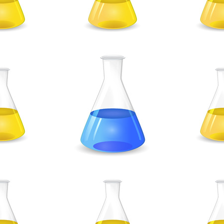 conical: Conical flasks seamless pattern, 3d lab equipment, scientific Illustration