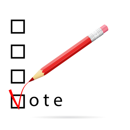 red pencil: Checkboxes for voting with a red pencil, vote concept, 3d image