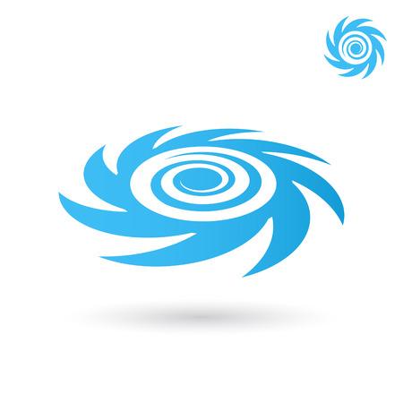 바다 토네이도 로고, 폭풍 아이콘, 2D 및 흰색 배경에 3d