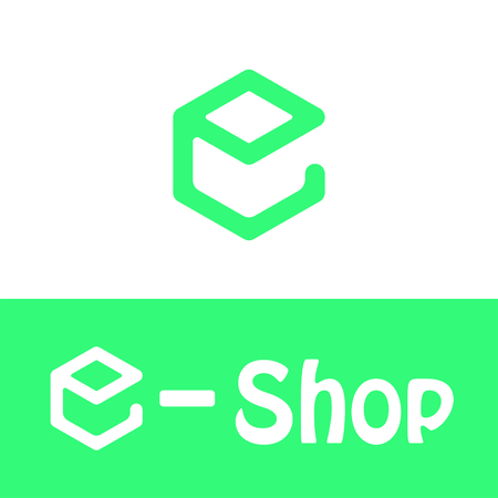 business sign: E letter icon, e shop icon, 2d, green and white colors