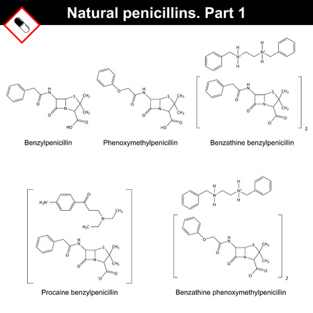 Chemical structures of natural penicillins - benzylpenicillin, phenoxymethylpenicillin and its salts, first part.