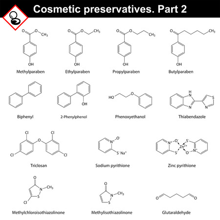 aldehyde: Molecular structures of main cosmetic preservatives, second set.