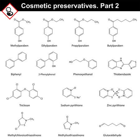 Molekulare Strukturen der Haupt kosmetische Konservierungsstoffe, Sekunde eingestellt.