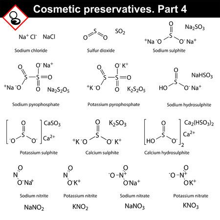 Molekulare Strukturen der Haupt kosmetische Konservierungsstoffe, vierten Satz.