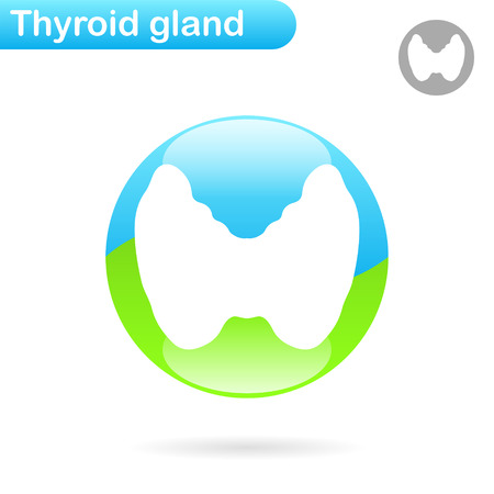 gland: Thyroid gland sign, 2d vector illustration, endocrine disease concept.