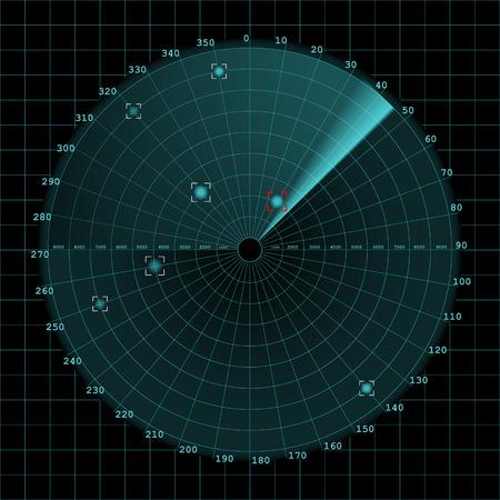 sonar: schermo Sonar sulla griglia, 2d vettoriale su sfondo scuro, radar.