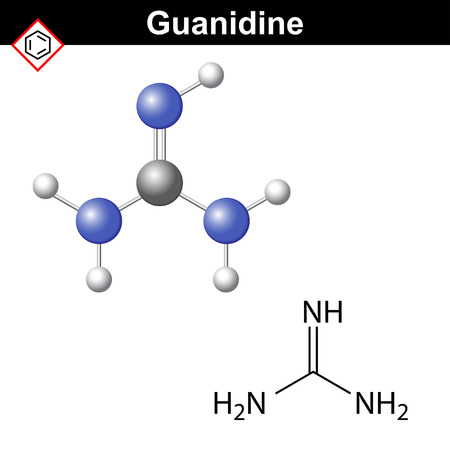 amine: Guanidine structure, chemical formula and model, 2d and 3d vector illustration.