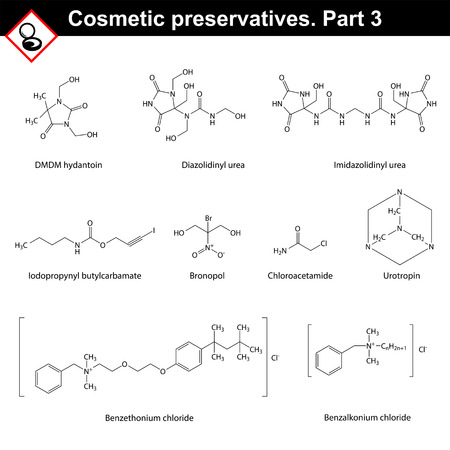Molecular structures of main cosmetic preservatives, third set Illustration