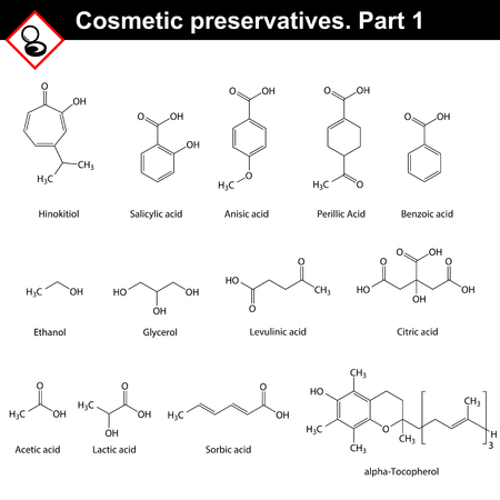 preservatives: Molecular structures of main cosmetic preservatives, first set, 2d vector