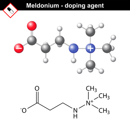 Chemical formula of meldonium molecule, cardioprotector substance, forbidden doping agent, 2d and 3d structures, vector
